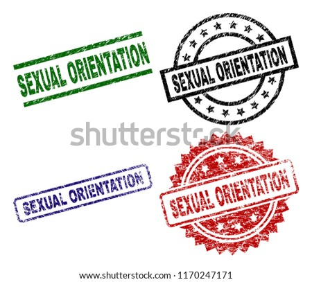 SEXUAL ORIENTATION seal prints with corroded style. Black, green,red,blue vector rubber prints of SEXUAL ORIENTATION tag with corroded style. Rubber seals with circle, rectangle, medal shapes.
