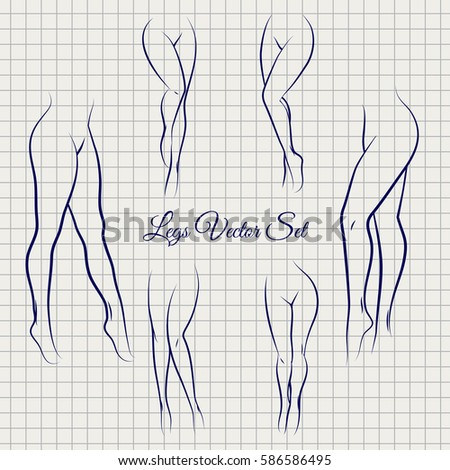 sexual woman legs sketch icons