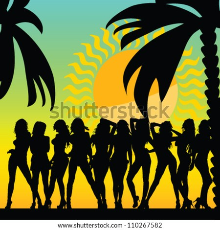 sexy and hot girls and palms vector silhouette illustration