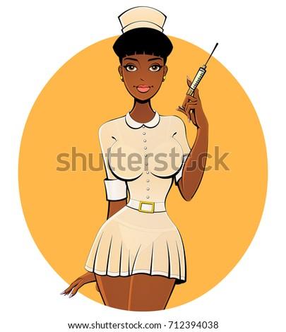 sexy black nurse in a