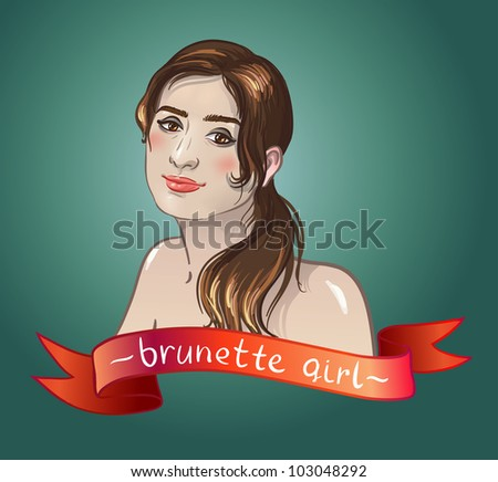 sexy brunette girl smiles. Caucasian type of face.  red banner for text