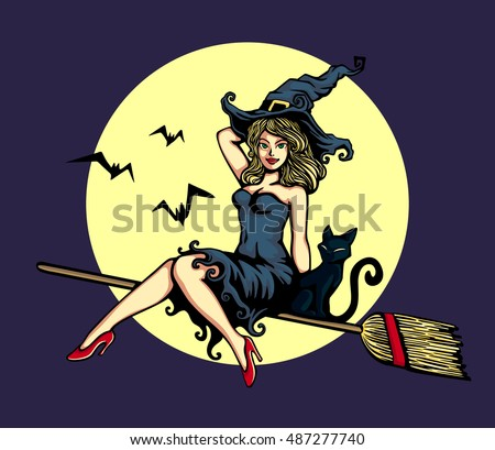 sexy cute pin up girl in witch