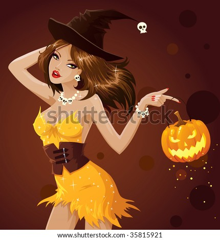 Sexy dancing witch with Jack O Lantern