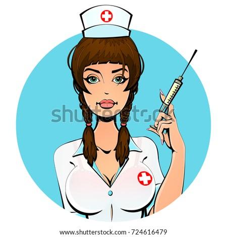 sexy european nurse with a