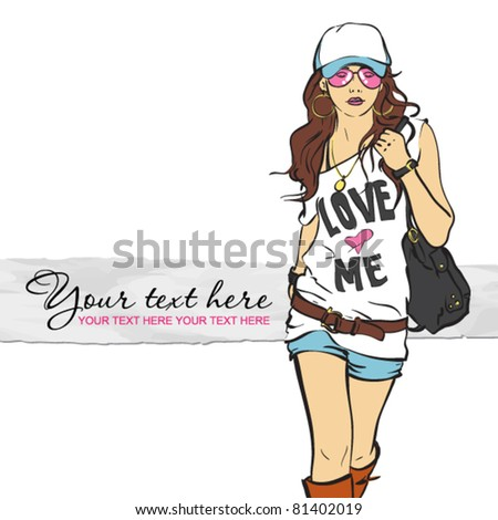 Sexy fashion girl in sketch style. Vector illustration
