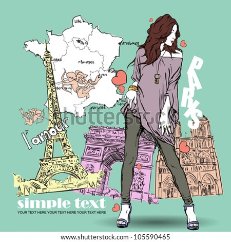 Sexy girl in sketch-style on a french background. Vector illustration