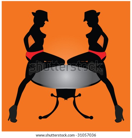 stock vector : Sexy girls dancing on the table