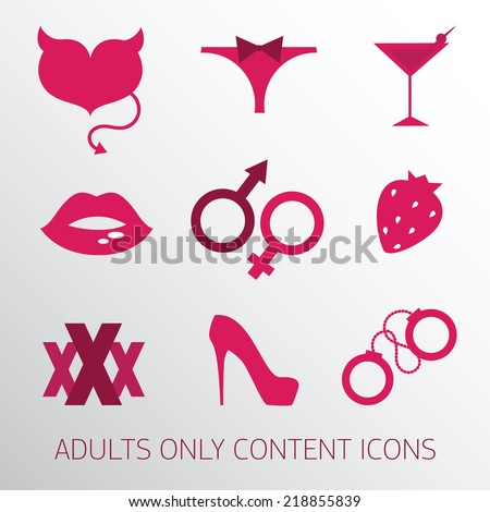 sexy icons set for adult only