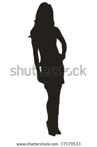 sexy leggy girl standing isolated vector illustration