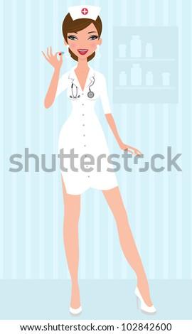 Sexy nurse holding pill