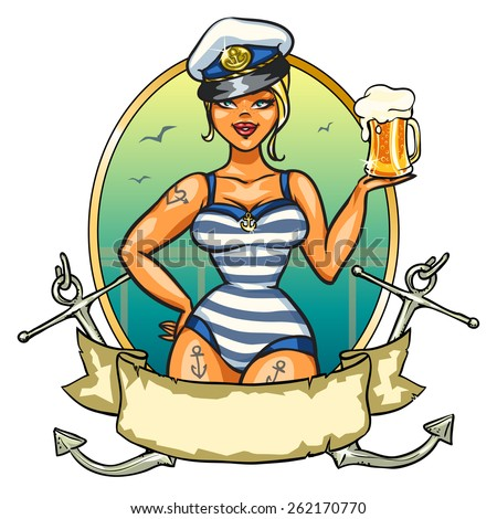 sexy pin up sailor girl with