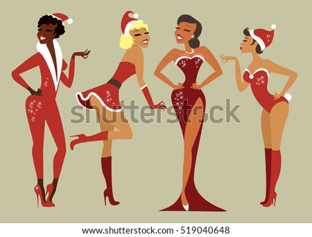 sexy pin up santa girls vector