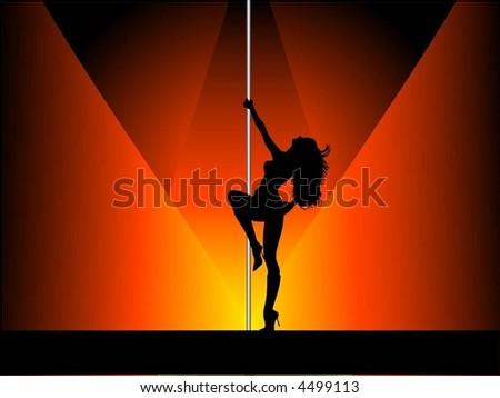 Sexy pole dancer - vector