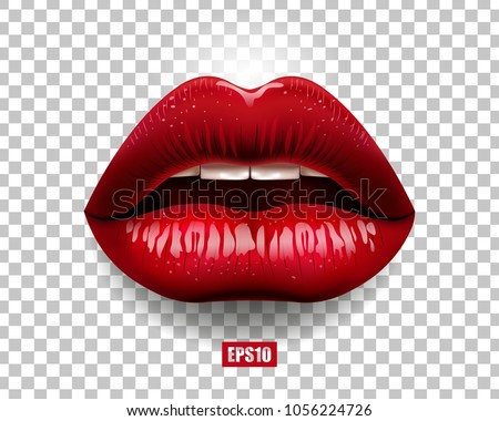 sexy red lips isolated on