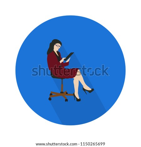Sexy secretary ready-to-use character. Elegant female office assistant in formal wear at work, full length, gestures, emotions, Business administration concept