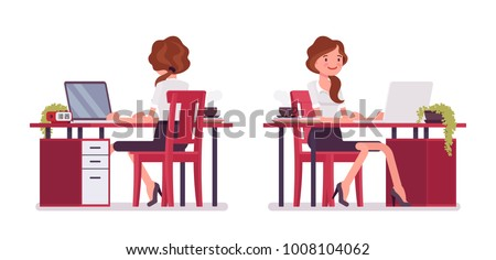 Sexy secretary working at desk. Elegant female office assistant sitting at the table with laptop. Business administration concept. Vector flat style cartoon illustration isolated on white background