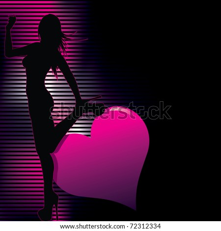 sexy  silhouette with abstract background  (also available jpg version) - stock vector