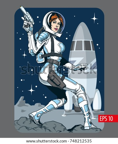 sexy space girl with blaster