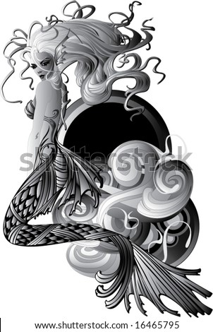 stock vector : sexy tattoo mermaid atop a wave with rainbow oval background