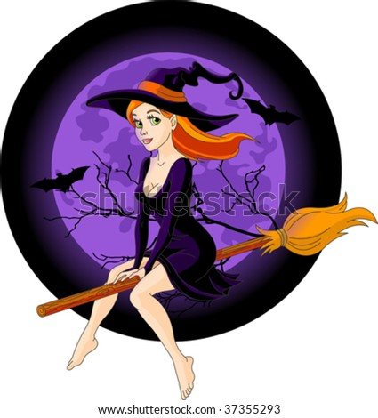 Sexy witch riding a broom with a large moon rising in the background