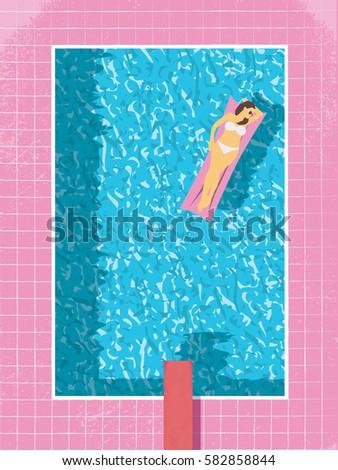 Sexy woman in bikini in swimming pool vector illustration. Modern retro 80s vintage style. Eps10 vector illustration.