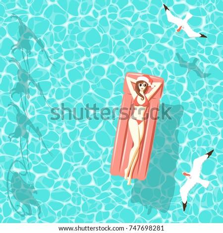 sexy woman in red bikini and