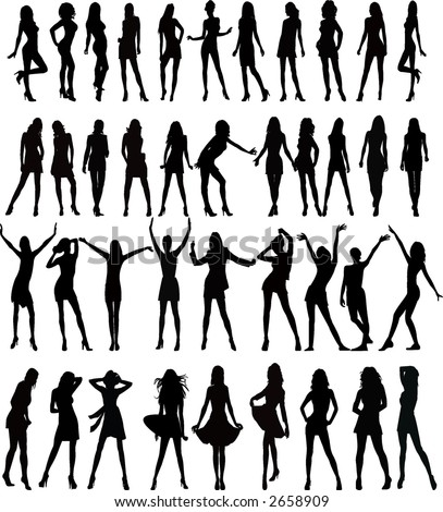 stock vector : Sexy woman silhouettes - vector. Save to a lightbox ▼