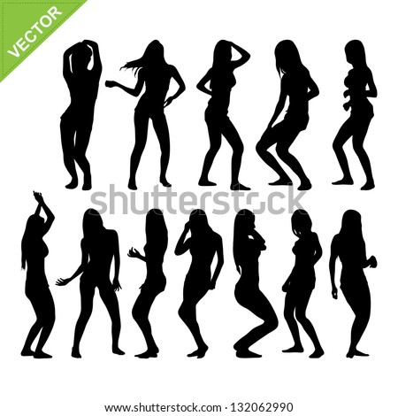 Sexy woman silhouettes vector set 2
