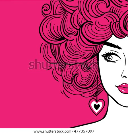 sexy woman with pink curly hair ...