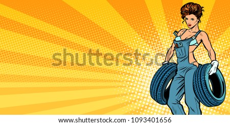 Sexy woman with tires, car service background. Pop art retro vector illustration comic cartoon kitsch drawing