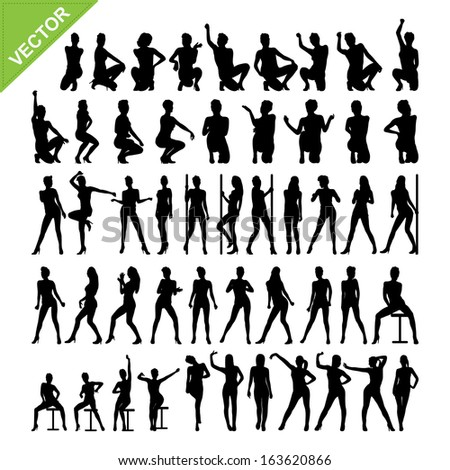 Sexy women and dancing silhouettes vector set 12