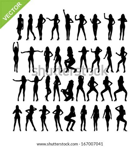 Sexy women and dancing silhouettes vector set 15