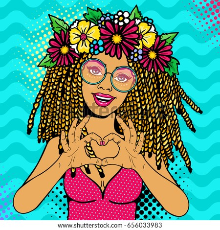 Shutterstock Sexy young woman with open smile, dreadlocks hairstyle and flowers on head in glasses shows love heart sign. Vector colorful invitation poster in pop art, retro comic style.