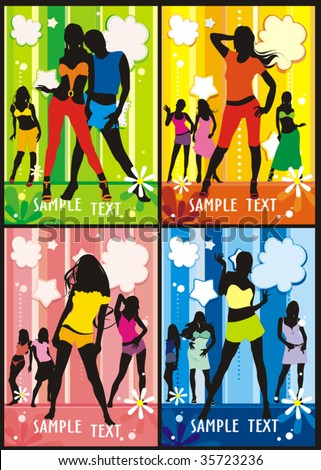 Sexy youth girls group elegance silhouettes  set of fashion Women    Youth Group Vector
