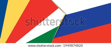 Seychelles and Russia flags, two vector flags symbol of relationship or confrontation. Foto stock ©