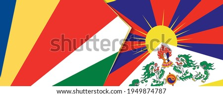 Seychelles and Tibet flags, two vector flags symbol of relationship or confrontation. Foto stock ©