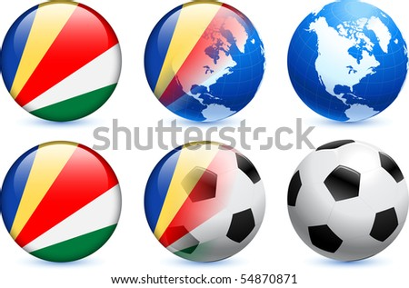 Seychelles Flag Button with Global Soccer Event Original Illustration