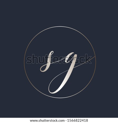 SG monogram logo.Metallic typographic icon.Calligraphic lettering sign.Alphabet initials isolated on dark fund.Lowercase characters in a circle frame.Elegant signature style.Letter s and letter g.