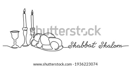 Shabbat Shalom, peaceful sabbath, simple vector poster, banner, background with challah, candle and wine. Shabbat Shalom lettering