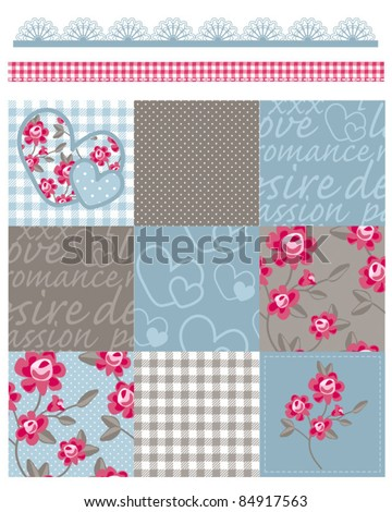 Shabby Chic Country Rose Vector Seamless Patterns.  Use to make quilts, fabric projects or paper crafts.