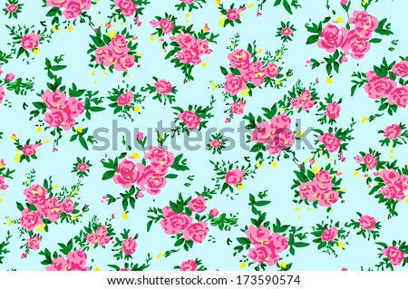 Shabby Chic Rose Pattern Background With Copyspace Frame Template