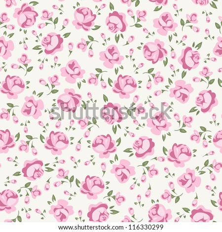 Shabby Chic Rose Pattern  S Booking Floral Seamless Background