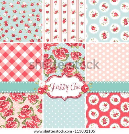 shabby chic rose patterns and
