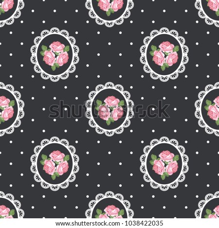 Shabby chic rose seamless pattern on black polka dot background. Vector illustartion.