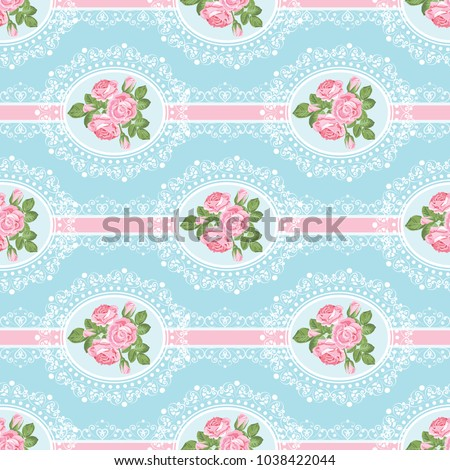 Shabby chic rose seamless pattern on blue background. Vector illustartion.