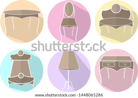 shabby-shic furniture icons, wood furniture icons, furniture icons with shadow.