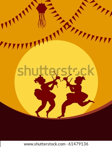 Shadow art graba dancer - stock vector
