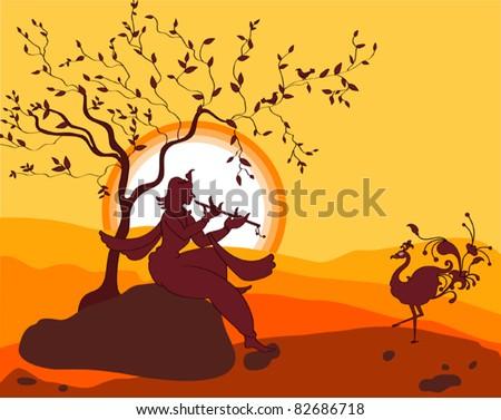 shadow art shri krishna playing