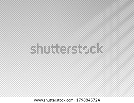 Shadow blinds. Light from window. Overlay effect. Shade jalousie transparent. Isolated background. Window blinds. Reflected shadow on wall. Realistic soft shade blind. Horizontal mockup. Vector  Stockfoto ©