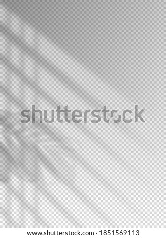 Shadow blinds. Light from window. Overlay effect. Shade jalousie transparent. Isolated background. Light on window blinds. Reflected shadow on wall. Realistic soft shade blind. Vertical mockup. Vector Foto stock ©